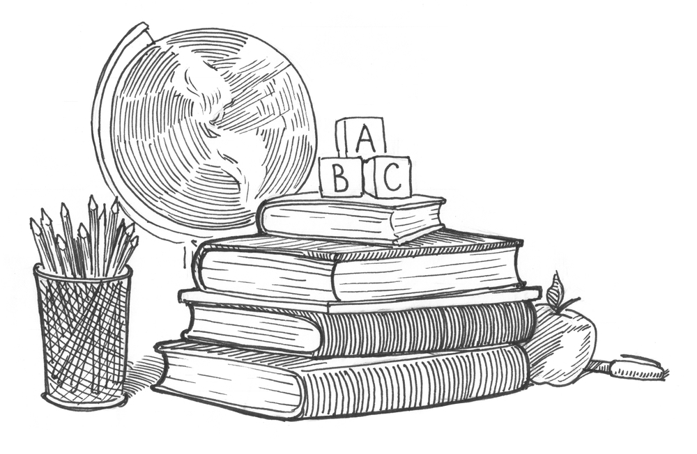 Engraving style hatching pen pencil painting illustration education collage concept image. ABC cubes, books, globe, apple, pen, pencils. Engrave hatch lithography drawing collection.